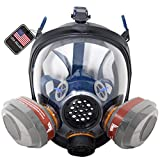 PD-101 Full Face Organic Vapor Respirator – Full Manufacturer Warranty – ASTM Certified – Double N95 Activated Charcoal Air filter – Eye Protection – Industrial Grade Quality