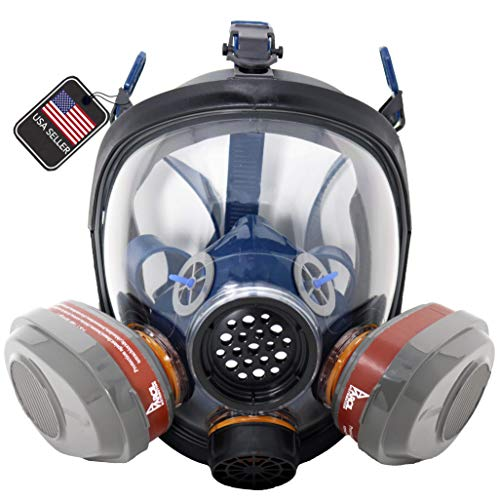 PD-101 Full Face Organic Vapor Respirator Full Manufacturer Warranty ASTM Tested Double N95 Activated Charcoal Air filter Equivalent Eye Protection Industrial Grade Quality
