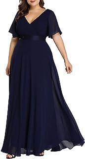 Ever-Pretty Vestido de Fiesta Noche Largo para Mujer Cuello V Manga Corta Talla Grande 9890PL