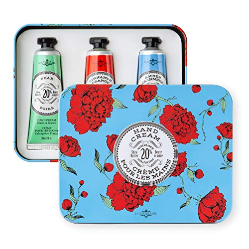 La Chatelaine 20% Shea Butter Hand Cream Tin Gift Set with Organic Argan Oil, Hydrating, Repairing, Non-Greasy Formula, Paraben Free, Popular Gifts - Pear, Cinnamon Orange, Amber Cashmere, 3 x 1fl oz by La Chatelaine