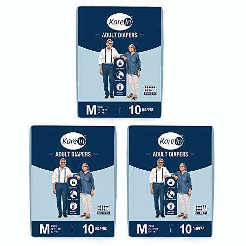 "Kare In Adult Diapers Medium 10 Count, Waist Size 76-114cm (30""-45"")- Pack of 3 (30 Counts)"