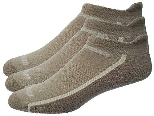 Mens 3-Pack No Show Tab Golf Socks (Large, Khaki)