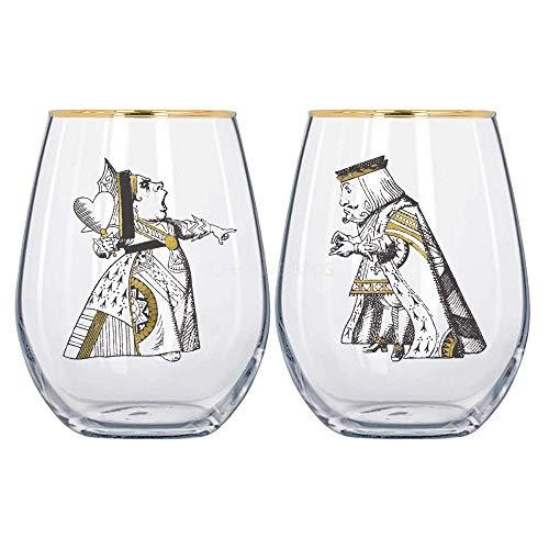 V&A Alice im Wunderland Gläser für Sie und Ihn, in Geschenkbox, Glas, 350 ml, 2 Stück