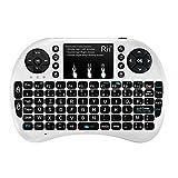Rii Mini i8+ Wireless (AZERTY)–Mini teclado francesa retroiluminada ergonómico inalámbrico con Touchpad–para Smart TV, Mini PC, HTPC, consola, ordenador blanco