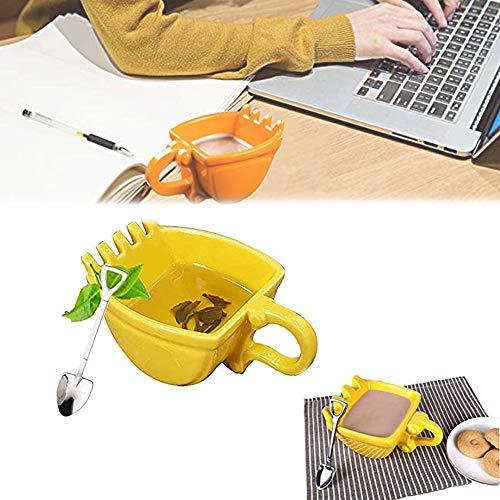 AMZBEST Digger Kaffeetassen, Baggertasse, Tasse In Form Einer Baggerschaufel, Als Geschenk, Für Kinder Und Bagger Fans (Gelb,Plastik)