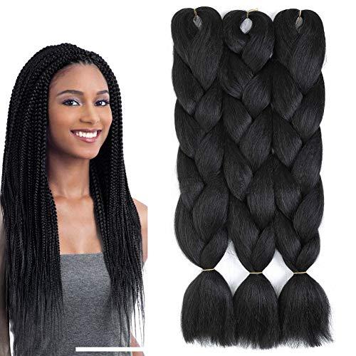 Black Braiding Hair 3 Packs Kanekalon Braiding Hair Extension for Braid Jumbo Braiding Hair 24 Inch (3 pack, black)