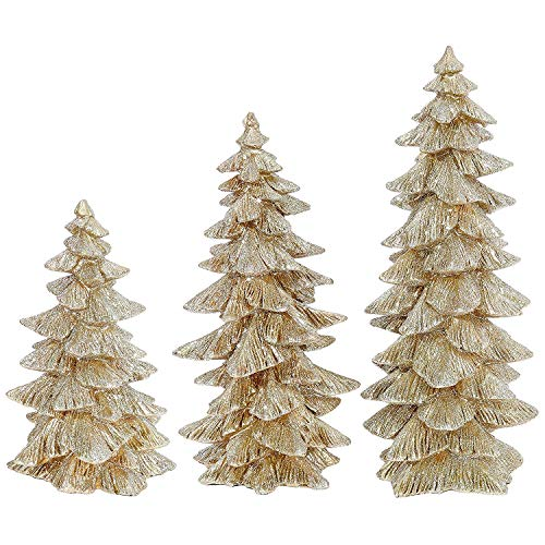 Raz Set of 3 Champagne Gold Glittered Christmas Trees- 6.5 inches to 9.5 inches Tall