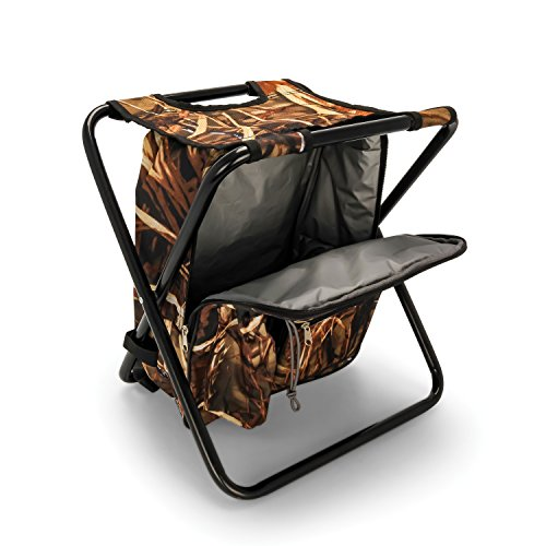 Camco Folding Camping Stool Backpack Cooler Trio- Camping/Hiking Bag with Waterproof Insulated Cooler Pockets and Sturdy Legs for Seating, Great For Travel - Camouflage (51908)