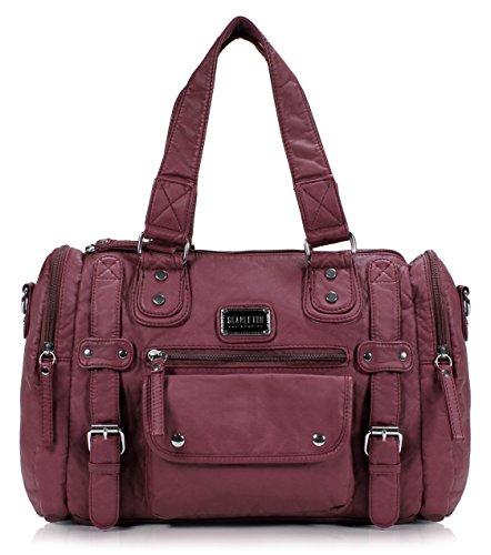 Scarleton Satchel Handbag for Women, Ultra Soft Washed Vegan Leather Crossbody Bag, Shoulder Bag, Tote Purse, Purple, H148516