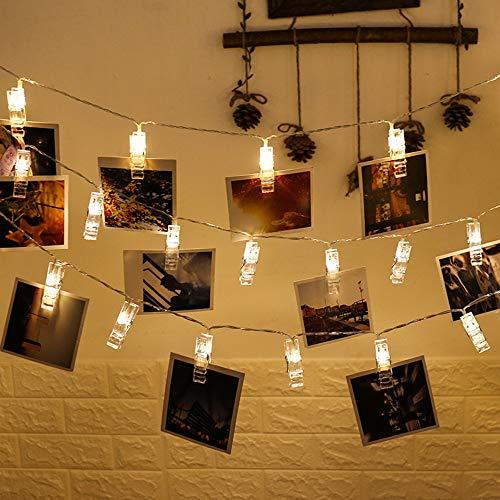 RBH LED Mood LumièRe Clip Photo ChaîNe LumièRes De La Batterie Exploité Chaud Blanc DéCoration D'éClairage pour Le Salon De NoëL De Mariage De FêTe Pegs Cadres Photos Lampe