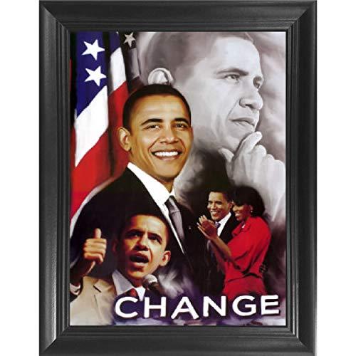 President Barack Obama Change Portrait 3D Poster Wall Art Decor Framed Print   14.5x18.5   Lenticular Posters & Pictures   Memorabilia Gifts for Guys & Girls Bedroom   Political Icon, American Leader