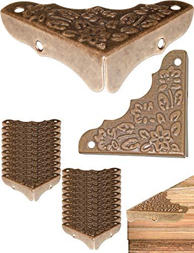 FUXXER® - 20x antieke meubelhoeken, beslag, hoekbeschermer, randbescherming voor kisten boxen meubels plank tafel, vintage messing antieke look, 20-delige set