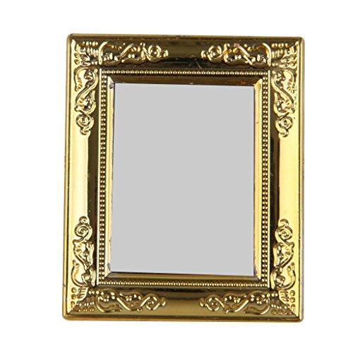 1/12 Puppenhaus Goldenen Rahmen Spiegel