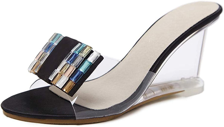 Zarbrina Womens Wedges Sandals High Heels Summer Female Platform Mules shoes Square Rhinestone Decoration Party Footwear