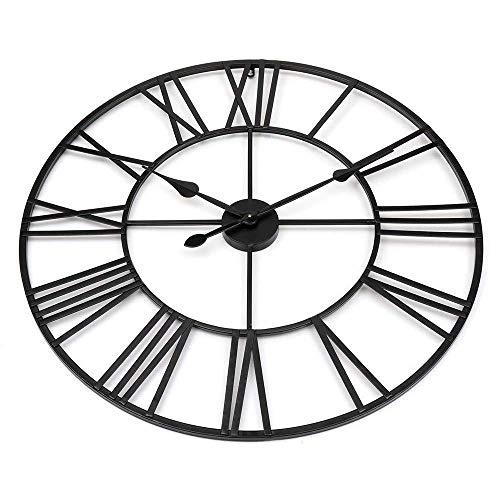 orologio da parete 80 cm diametro Thusjh Orologio da Parete Orologio Orologio da Parete S New 80 Cm Modern 3D Large Retro Black Iron Art Hollow Numeri Romani Decorazioni per La Casa