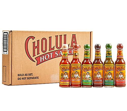 Cholula Hot Sauce 5 fl oz Variety Pack, 6 count | Original, Green Pepper, Chipotle, Chili Garlic, Chili Lime and Sweet Habanero