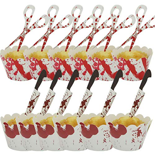 12-teiliges Halloween-Blut Handabdruck Kuchen Cupcake Wrapper Backförmchen Papier Backförmchen Halloween Food Picks Cupcake Toppers für Halloween Urlaub Party Dekoration 1