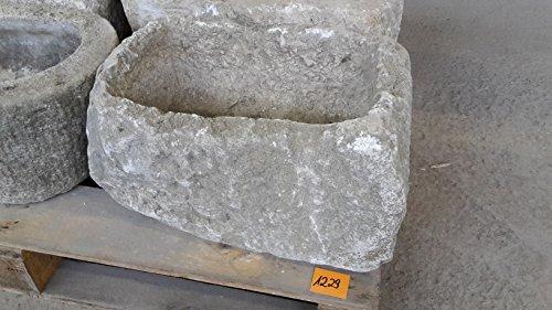 Der Naturstein Garten Alter Trog aus Granit 48 cm lang Brunnen Steintrog - G1229 Granittrog Waschbecken
