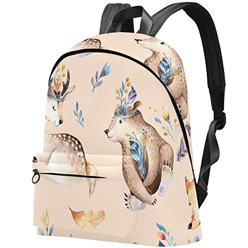 Watercolour Bunny Boho Cute Baby Fox Deer Rabbit Bag Teens Student Bookbag Lightweight Shoulder Bags Travel Backpack Daily Backpacks