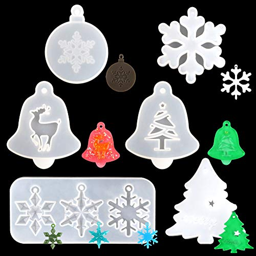 Resin Molds 6PCS Christmas Snowflake DIY Casting Molds Christmas Tree Reindeer Bell Silicone Bracelet Jewelry Making Molds Kit Resin Keychain Pendant Resin Clay Molds for Craft Pendant Charms Making