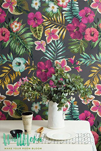 Sans Coutures à la main Draw Tropical Papier peint Motif fleur amovible - Sticker mural Papier peint autocollant - Sticker mural - Jungle, 53 Cm wide by 243 Cm Tall