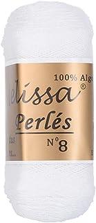 Melissa Perlés 8 - Hilo de Algodón para Ganchillo Hilado 100% Algodón para DIY y Tejer a Mano, Blanco 1, (75 g * 1 unidad)