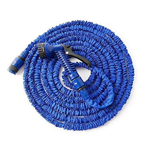 SSCYHT Expandable Garden Hose with Multifunction Spray Gun Leakproof Lightweight Retractable Water Hose Best Choice for Watering and Washing,Blue,50FT 15M