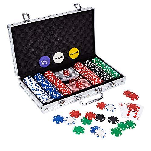 LOCKYOUNG Poker Chips Set, Poker Chips Set Texas Holdem Blackjack Gambling Chips Aluminum Case