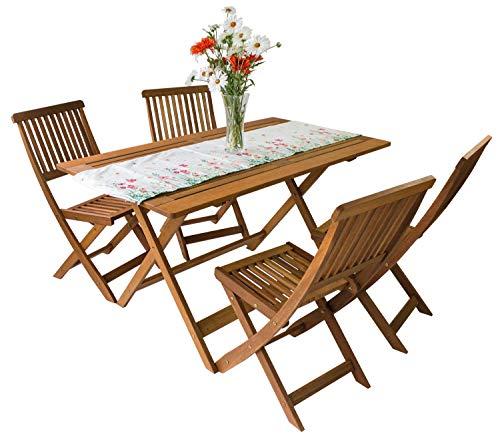 AVANTI TRENDSTORE - Set da Giardino/Balcone in Legno Massiccio, Disponibile in 2 disposizioni Diverse (1 x Tavolo; 4 x sedie)