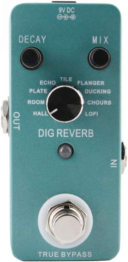 Guitarra Efectos de reverb verdadero del pedal Bypass con 9 Efectos de reverberación digital, procesador de grabación / Reverb / audio digital, transmisión de la señal real de la guitarra electrónica