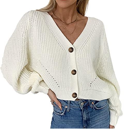 Señoras Cardigan suéter de cachemira de manga larga cuello señoras suéter
