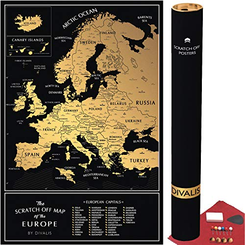 Detailed Scratch Off Map of The Europe - Easy to Frame 24 x 16 European Travel Map Poster with Cities - Large Black and Gold Push Pin Travel Wall Maps - Scratchable Europe Map with Scratcher Included
