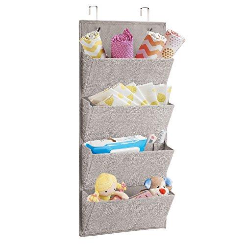 mDesign Organizador de tela con 4 compartimentos – Colgador de puerta de tejido efecto yute – Estantería de tela ideal para artículos de bebé como juguetes, prendas o juguetes – Color beis