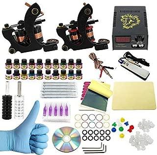 Wormhole Tattoo Complete Tattoo Kit for Beginners Tattoo Power Supply Kit 20 Tattoo Inks 20 Tattoo Needles 2 Pro Tattoo Machine Kit Tattoo Supplies TK1000021