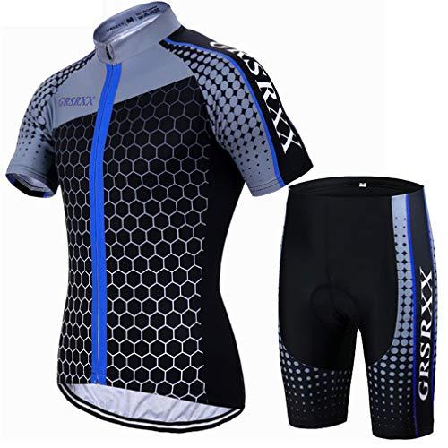 X-Labor Herren MTB Radtrikot Set Schnell Trocknend Jersey Kurzarm + Radhose mit 3D Sitzpolster Rennrad Outdoor Fahrradbekleidung Blau 2XL