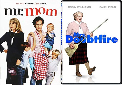 Mom's Role Reversal Comedy Mrs. Doubtfire & Mr. Mom 2-Movie Collection DVD Robin Williams & Michael Keaton Bundle Feature Family Set