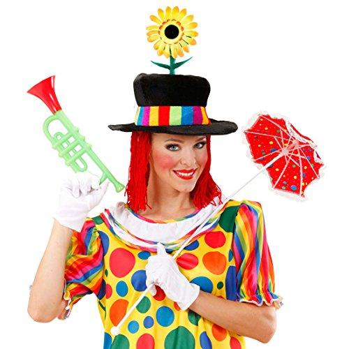 Amakando Chapeau de Cirque avec Fleur Haut-de-Forme Clown avec Perruque avec Cheveux Rouge et Tournesol Couvre-Chef en Velours fête Anniversaire Enfants manège Accessoire déguisement