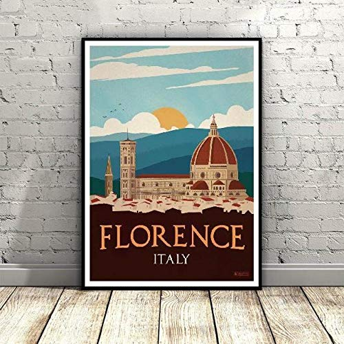 DKQL Vintage Florence Italy Canvas Painting Art Print Poster Picture Wall Modern Minimalist Bedroom Living Room Decoration-50x70cmx1 pcs no Frame