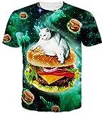 Goodstoworld Divertido Galaxy Hamburguesa Gato Camiseta Impresa Camisas de Verano Funky Cuello Redondo Camiseta tee Tops para Mujer para Hombre XL