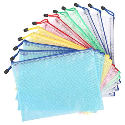Kasimir Cartelline Plastica A4 12 Pezzi Sacchetti di File Zipper Portalistini A4 Sacchetti Cerniera Borse di File Cartelline Trasparenti File di Documenti - 5 Colori