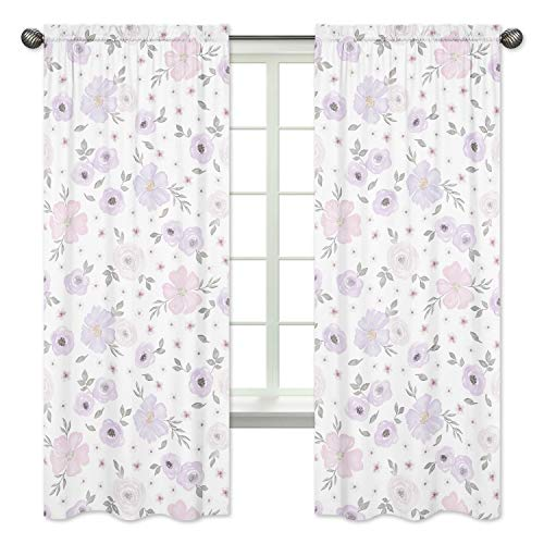 Sweet Jojo Designs Lavender Purple, Pink, Grey and White Window Treatment Panels Curtains for Watercolor Floral Collection - Set of 2 - Rose Flower