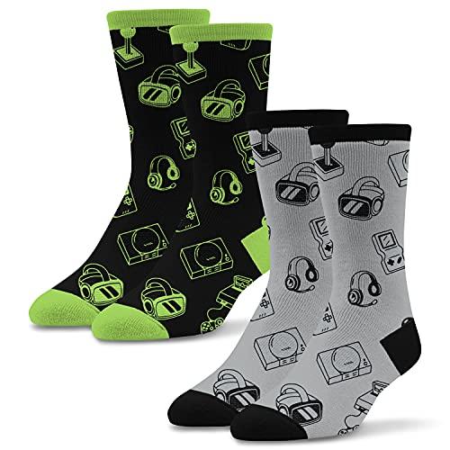 Socktastic Men's Vintage Gaming Controler Socks 2 Pack - Fun Novelty Gamer Socks for Men, Fits Shoe Sizes 8-13
