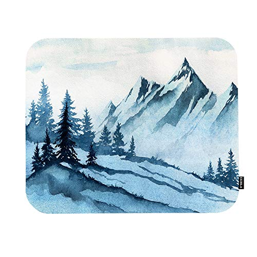 EKOBLA Foggy Mountain Mouse Pad Watercolor Misty Forest Tree Landscape Ink Painting Beautiful Art Gaming Mouse Mat Non-Slip Rubber Base Thick Mousepad for Laptop Computer PC 9.5x7.9 Inch