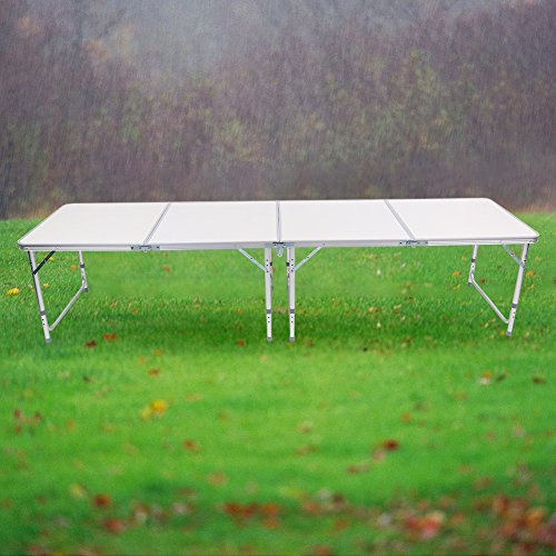 Zerone 8ft Folding Table, White 4 Section Portable Aluminum Folding Table for Camping Picnic BBQ Outdoor Party Games