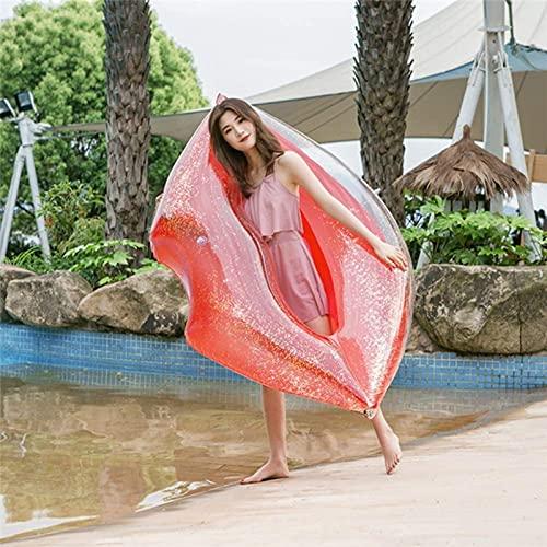 DPDM Flotador inflable gigante de labios rojos para piscina, flotadores divertidos para piscina, juguete de fiesta de natación, balsa de verano (1 paquete), 100 x 160 cm