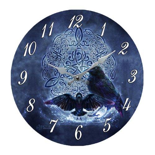 DWK Celtic Raven Crow Darkness Zodiac Wall Clock by Brigid Ashwood Round Plate 13.5' D