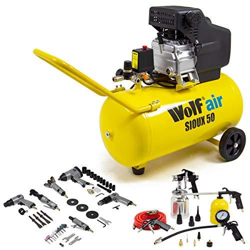 Wolf Sioux 50L Air Compressor 2.5HP 9.6CFM 230V 8BAR 116psi + 13pc Spray Kit & 6pc Air Tool Kit