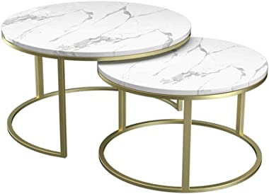 ZHIRONG Round Marble Nesting End Side Coffee Tables for Living Room Bedroom and Office, Set of 2 (Color : White)