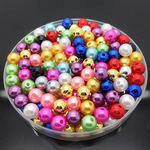 4 6 8 10 mm Perlas de imitación Acrílico Perlas redondas Espaciador Perlas sueltas DIY Fabricación de joyas Collar Pulsera Pendientes Accesorios-Mezcla de colores, 4 mm 200 piezas