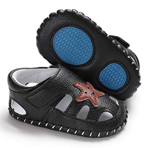 Newborn Baby Boys Girls Summer Sandals Breathable Closed-Toe Infant Toddler Crib Summer Sandals Outdoor Shoes(12-18 Months,Black)